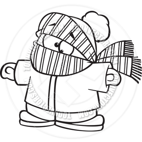 460x460 Cartoon Boy Bundled Up In Winter Clothes (Black Amp White Line Art