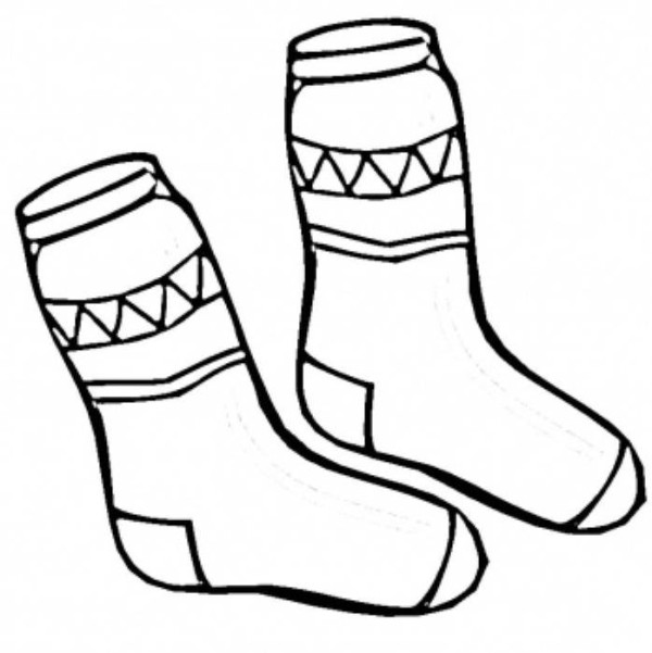 600x601 Socks Winter Clothes Coloring Page sock crafts