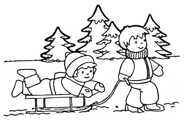 600x401 Winter clip art black and white free clipart
