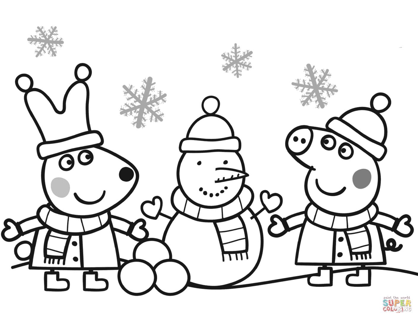 1409x1076 winter snow s kids making snowman 9baa coloring pages printable - Free Printable Coloring Pages Winter