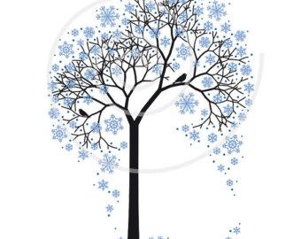 340x270 Winter Clipart Tree Etsy