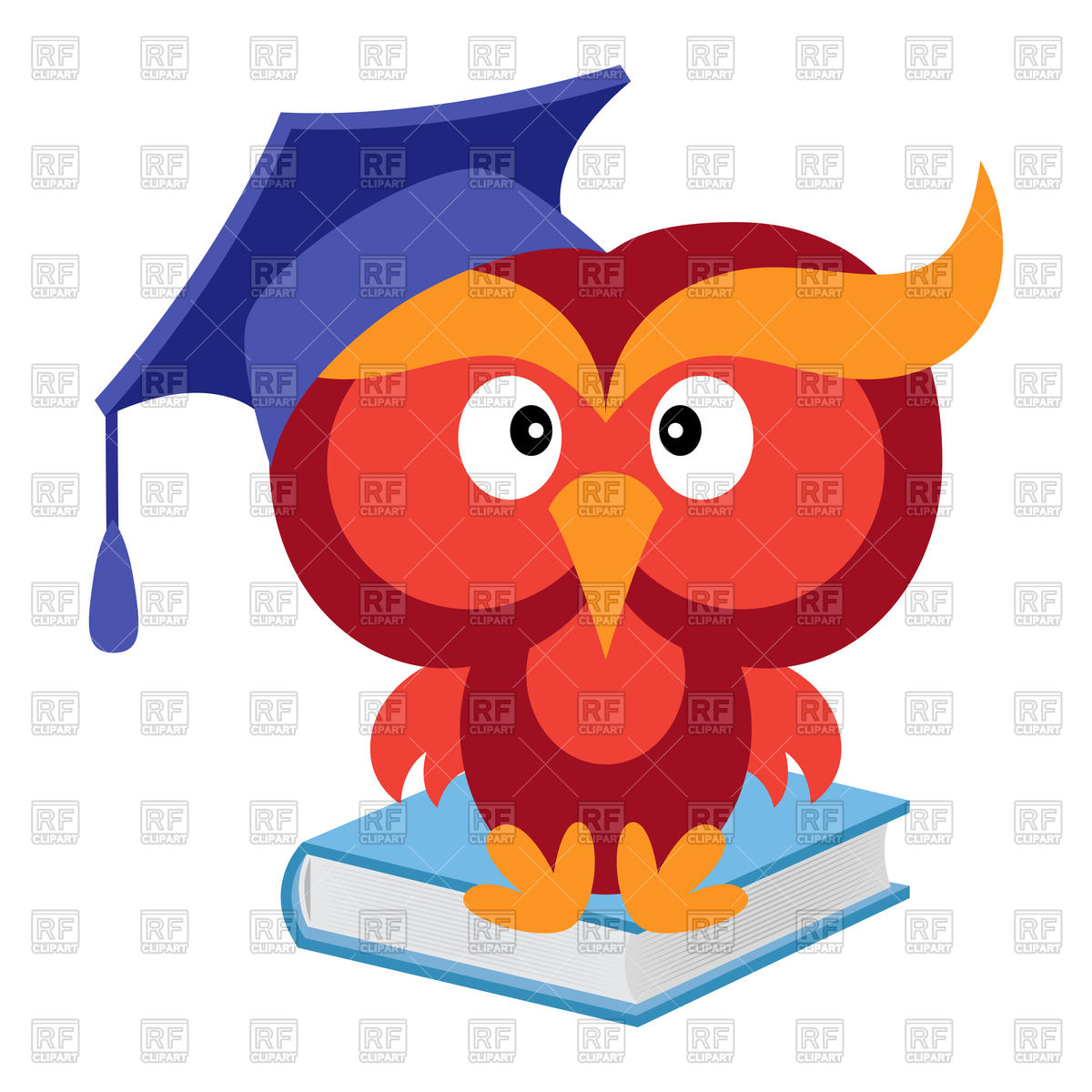 1200x1200 Big Funny Wise Owl In The Mortarboard Cap Sitting On The Blue Book
