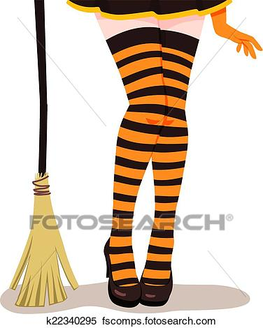 376x470 Clipart Of Witch Legs Broom K22340295