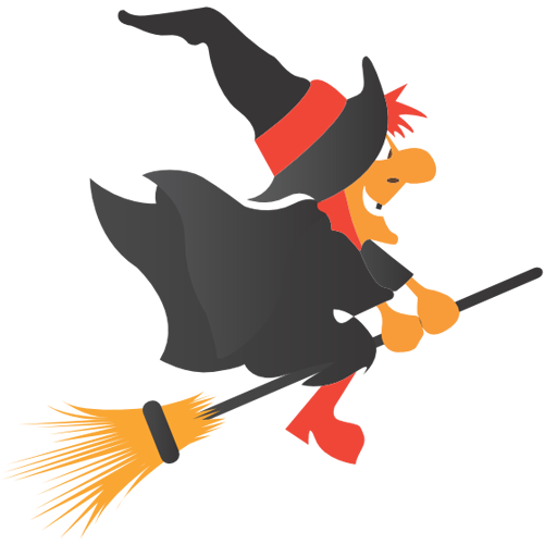 512x512 Free Simple Witch Riding Broom Clip Art