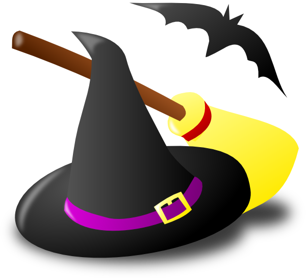 600x546 Witch Hat Broom Bat Clip Art