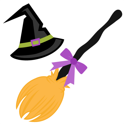 432x432 Witch Hat And Broom Svg Scrapbook Cut File Cute Clipart Files