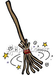 225x300 Broom Under A Spell Royalty Free Clipart Picture