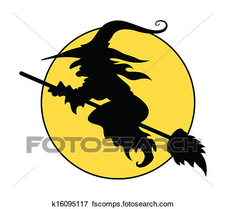 450x417 Clip Art Of Silhouette Of Flying Witch On Broom K16095117