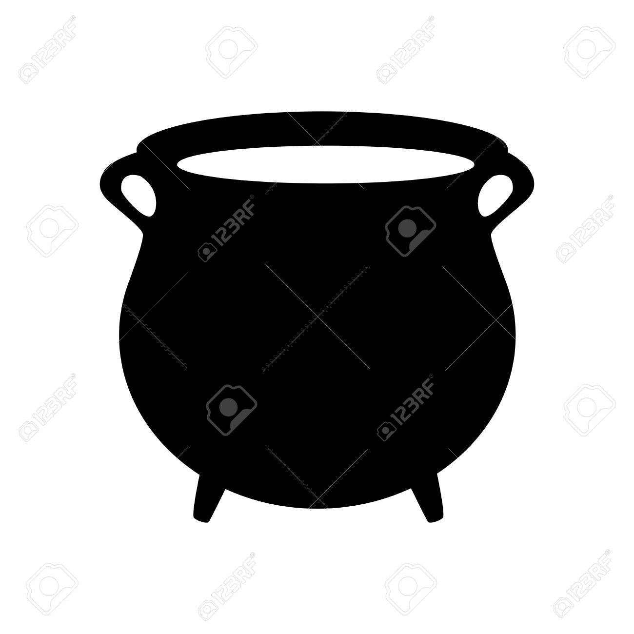 1300x1300 Empty Witch Cauldron, Pot Silhouette. Vector Illustration Isolated