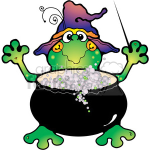 300x300 Royalty Free Halloween Frog Witch Cauldron 391598 Vector Clip Art
