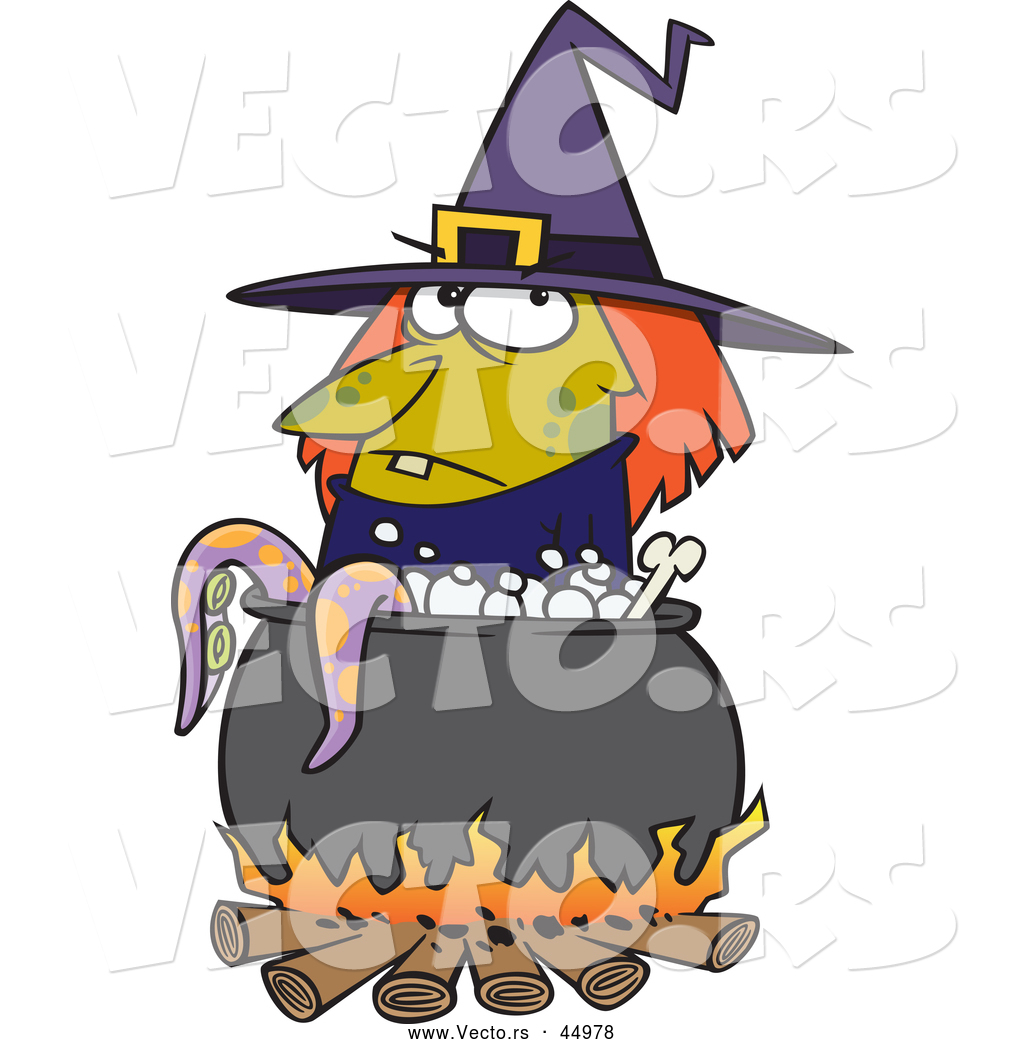 1024x1044 Vector Of A Cartoon Witch Boiling Tentacles In A Cauldron By