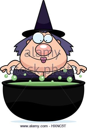 300x444 A Cartoon Illustration Of A Witch With A Bubbling Cauldron Stock