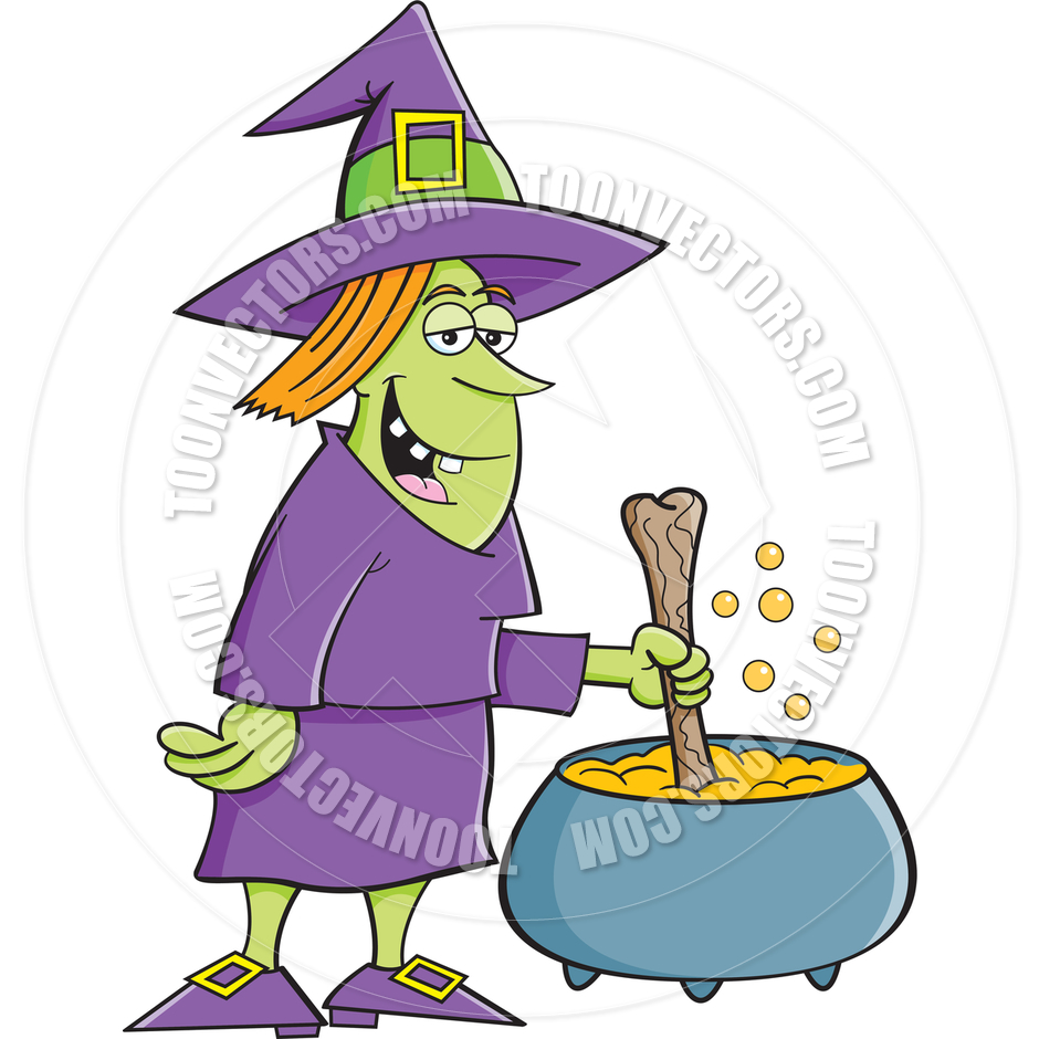 940x940 Cartoon Witch With Cauldron By Kenbenner Toon Vectors Eps