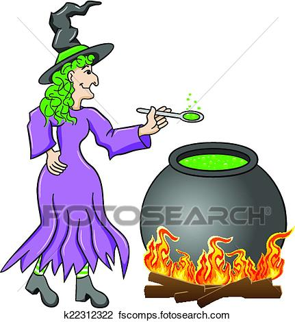 431x470 Clipart Of Witch Cooking A Magic Potion In The Cauldron K22312322