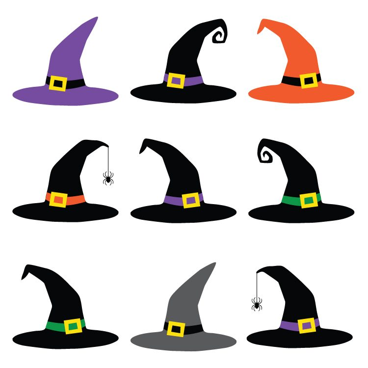 750x750 Witch Hat Cut Files + Clip Art