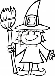 218x300 Black And White Cartoon Of A Child Dressed As A Witch, And Holding