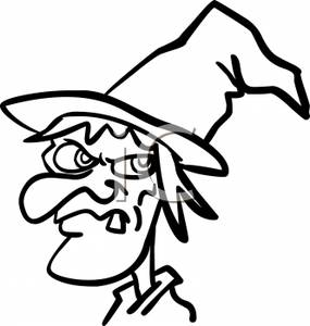 285x300 Black And White Cartoon Of A Witch With One Tooth Showing