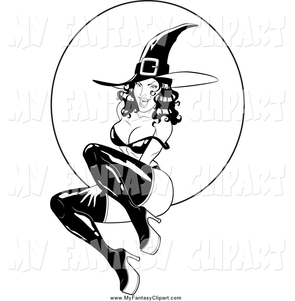 1024x1044 Clip Art Of A Sexy Black And White Witch And Full Moon By Lawrence