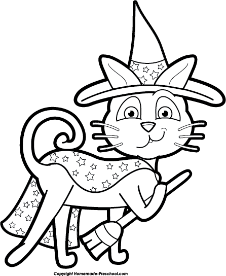 446x544 Cute Black And White Halloween Cat Clipart