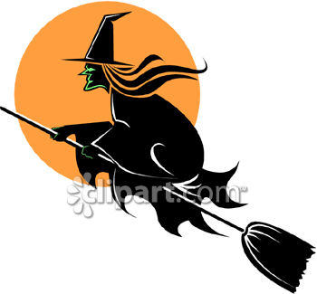 350x325 Witch Flying On Her Broom Black And Orange