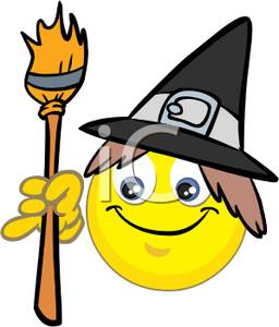 256x300 Art Image A Smiley Face Witch With A Broom