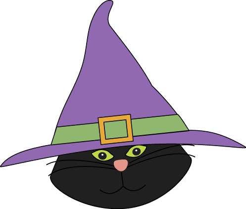 497x422 Cat Head With Witch Hat Clip Art