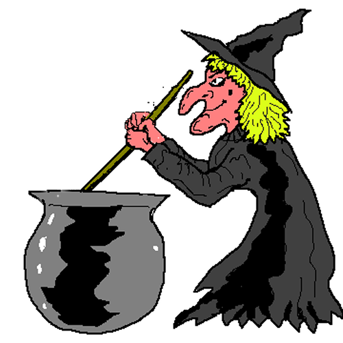 500x500 Free Witch Stirring Her Cauldron Clip Art
