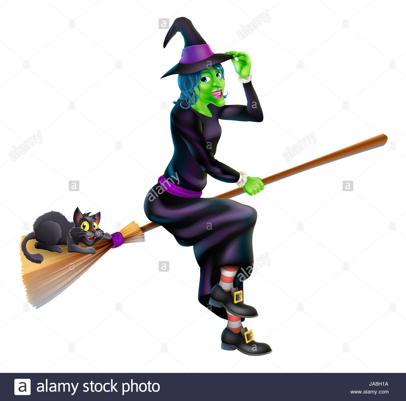 1300x1284 A Friendly Cartoon Halloween Witch Flying On Her Broom Stick