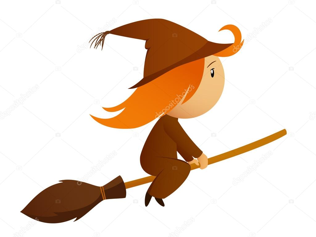 1024x768 Flying Halloween Cartoon Witch On The Broom Stock Vector