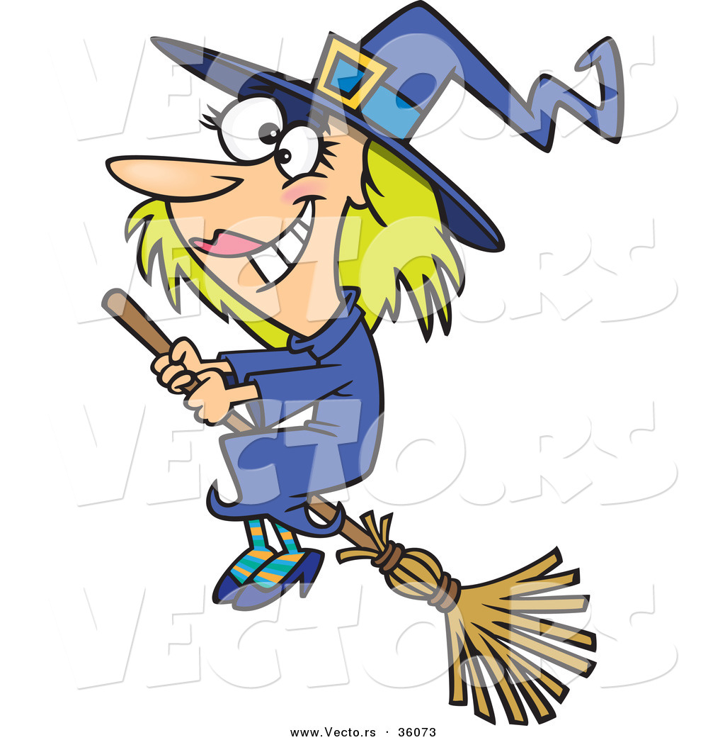 1024x1044 Halloween Vector Of A Good Happy Cartoon Witch Flying On A Broom