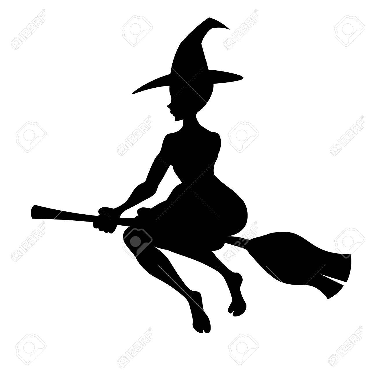 1300x1300 Witch On A Broom, Vector Black Silhouette Witch Flying To