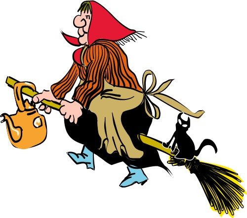 500x443 Witch On Broomstick Holidays