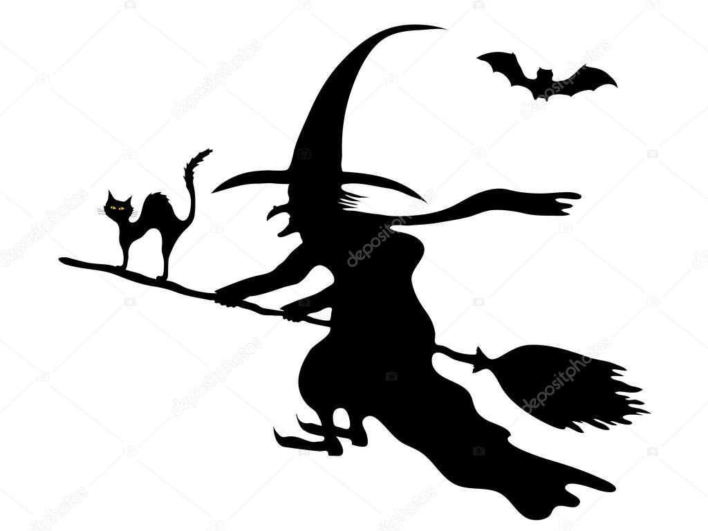 1024x768 Witch On The Broom Stock Vector Sarininka