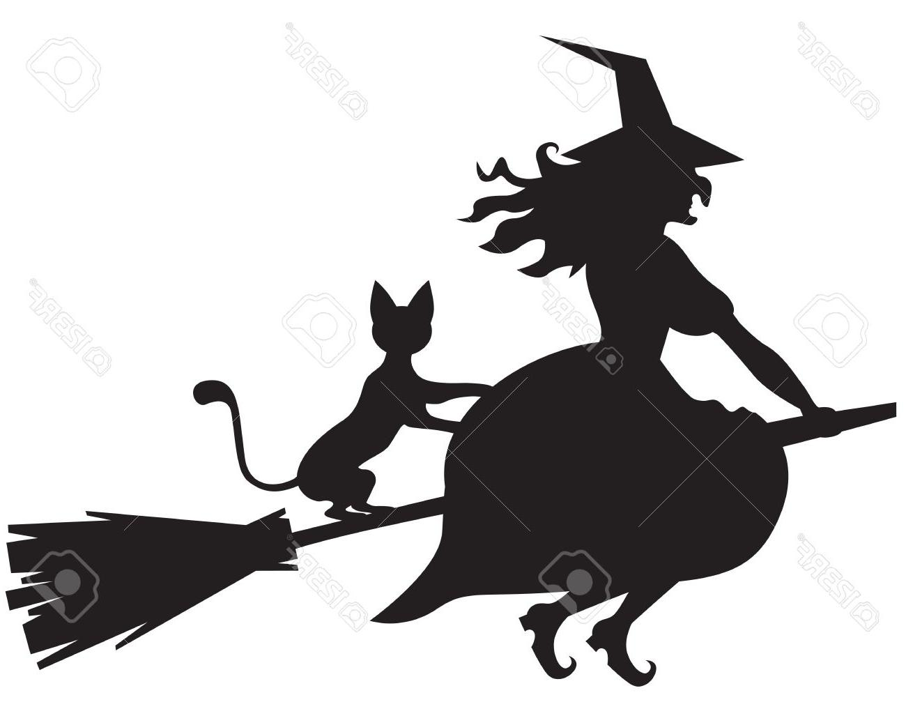1300x1040 Best 15 Silhouette Of Halloween Witch With And Cat On Broom Stock