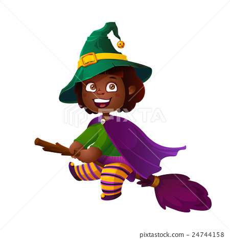 450x468 Cute African American Girl Witch On The Broom