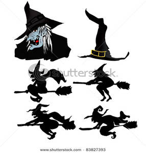 286x300 Art Image Silhouettes Of Witches Riding On Magic Broomsticks