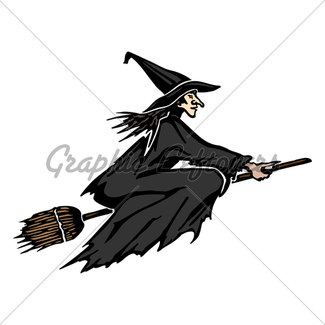 325x325 Witch Flying On A Broom Against The Moon Gl Stock Images