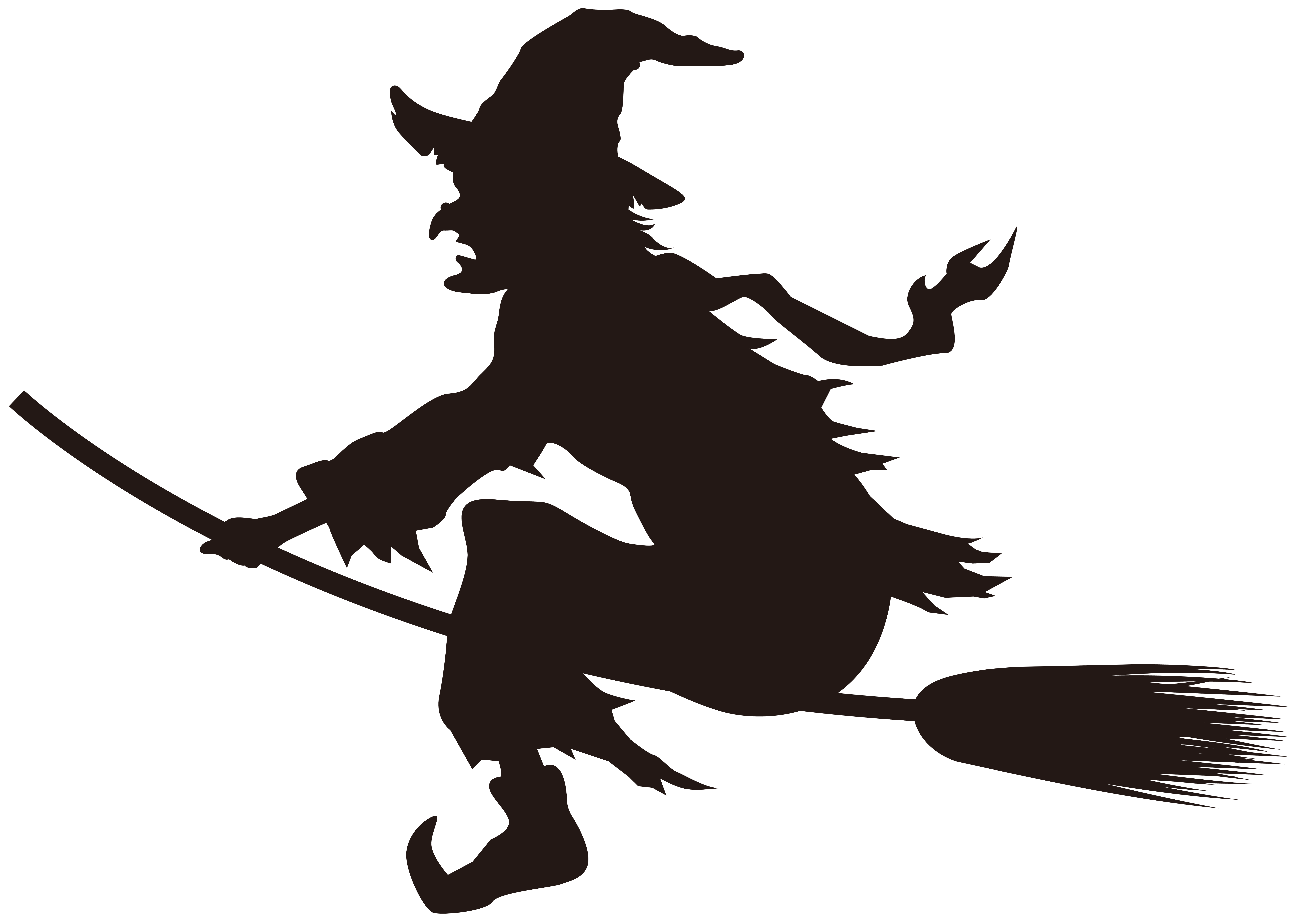 8000x5637 Witches Broom Silhouette Clipart