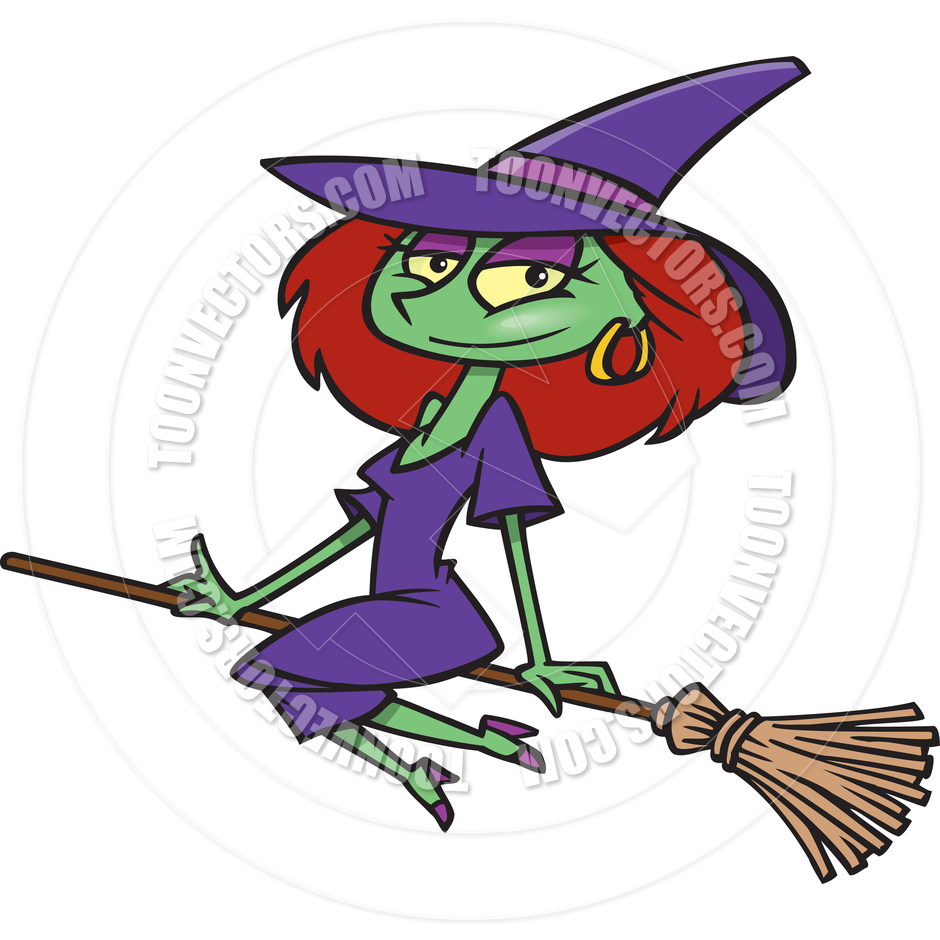 940x940 Cartoon Sexy Witch Flying On A Broomstick By Ron Leishman Toon