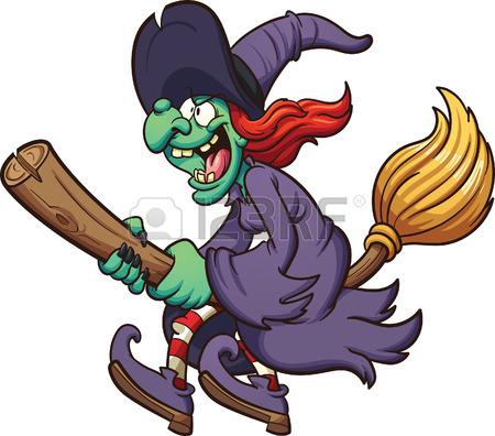 450x396 Crazy Cartoon Witch Flying On Her Broom. Vector Clip Art