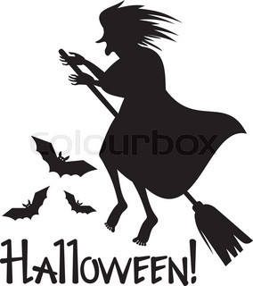 284x320 Silhouette Of The Witch With A Broom. Halloween Stock Vector