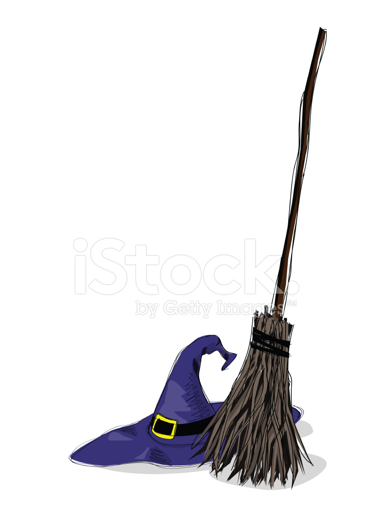 741x1024 Witch Hat And Broomstick Stock Vector