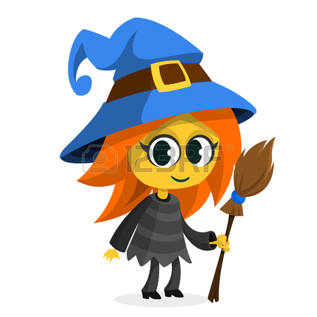 450x450 Cartoon Old Ugly Funny Witch In Hat With A Broom. Halloween Vector