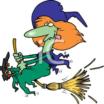 350x349 Picture of a Cartoon Witch On Her Broom With Her Tongue Out In a