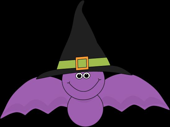 547x410 Purple Bat Wearing Witches Hat Clip Art