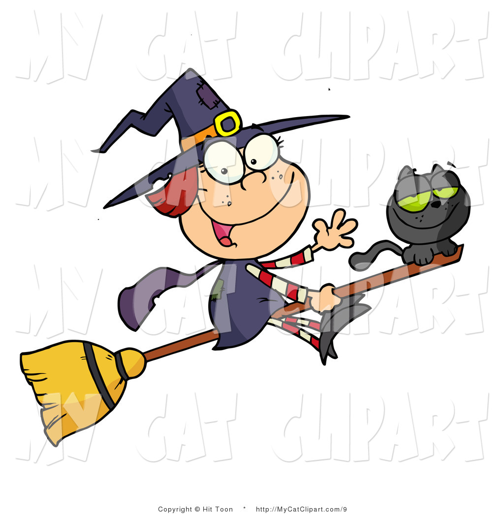 1024x1044 Vector Clip Art of a Happy Halloween Witch and Cat Flying on a