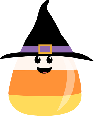 363x450 Candy Corn Wearing Witches Hat Clip Art