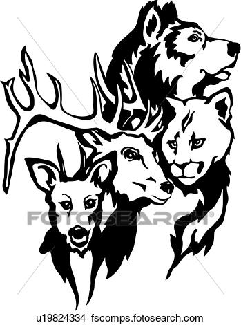 349x470 Clipart Of , Animal, Deer, Wild Animal, Wilderness, Wolf