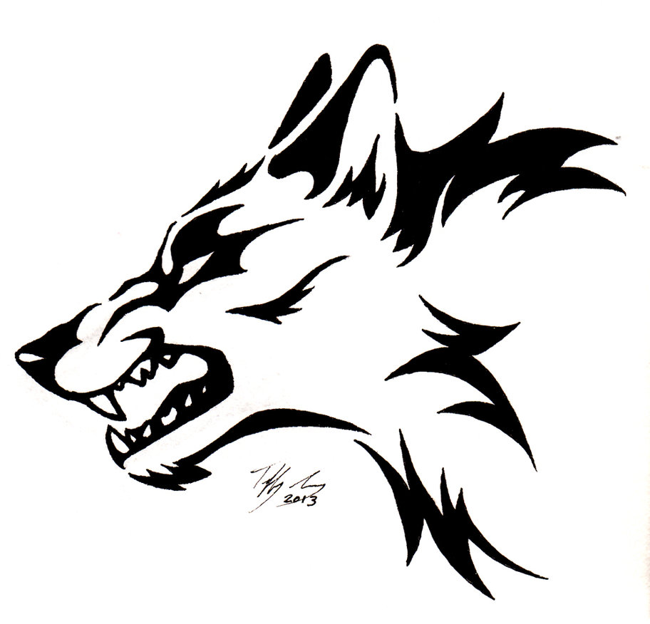 912x876 Drawn howling wolf snarling wolf