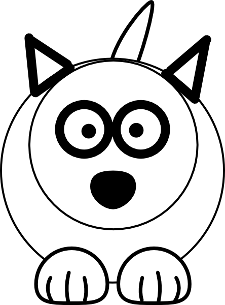 444x600 Black And White Wolf Clip Art